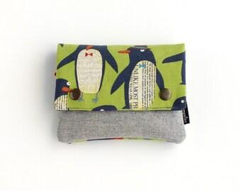 Monedero de tela, monedero pinguinos, monedero verde