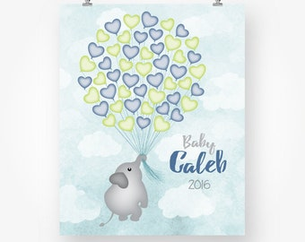 baby boy shower guest book printable girl shower guestbook alternative elephant hearts balloons digital sign in signature poster jpg pdf