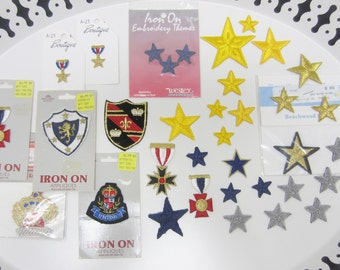 Military Stars Medal Iron on Patches Army Uniform Red White Blue Yellow Gold Costume Mixed Lot of Embroidered Appliques (23)