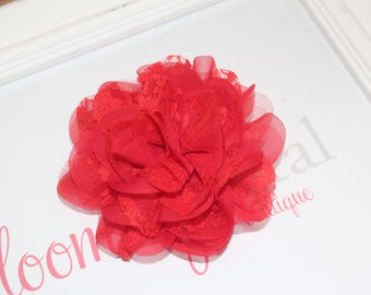 Red Lace Chiffon Flower Clip
