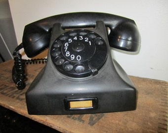 Black PTT telephone prop Made in Holland. Black rotary Telephone. 1950's Black Telephone. Vintage Dial Telephone. Rotary Phone