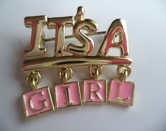 Vintage Signed Danecraft Small Goldtone It's A Girl Dangler Brooch/Pin