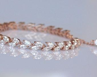 Rose Gold Bridal Bracelet, Rose Gold Tennis Bracelet, Rose Gold Bracelet HAYLEY Crystal