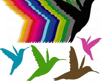60% OFF SALE Rainbow Colibri Hummingbirds Digital Clip Art - Commercial Use - Instant Download - M115