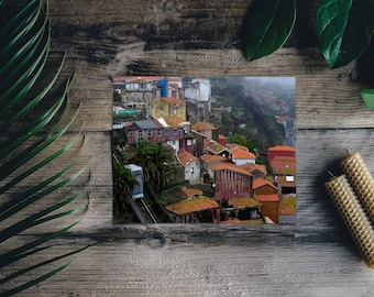 Porto Roof Photography, Portugal Rooftop Print, Terracotta Roofing Photo, Tram & Housing on Douro River, Village Homes European Streets