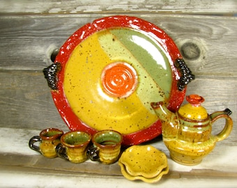 tea set children's play handmade tea set ceramic pottery holiday gift yellow red green natural living