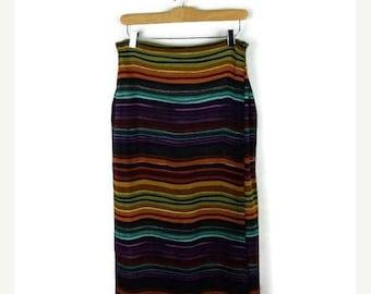 ON SALE Vintage Multi color Stripe Long Wrap Skirt/W26-31