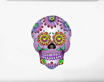 Purple Day of the Dead Sugar Skull Vinyl Art Decal Sticker Dia De Los Muertos