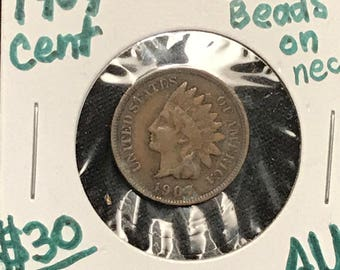1907 AU Almost Uncirculated Full Liberty beaded necklace Indian Head Cent in fantastic Condition. Check out the pictures.