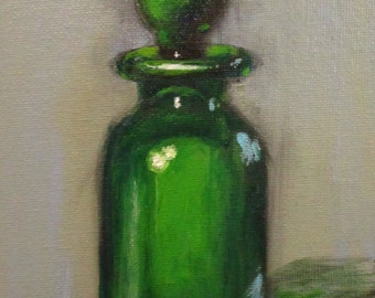 Green Glass - original daily painting by Kellie Marian Hill