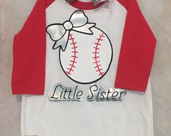 Lil Sister baseball top with bow 4T