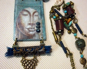long necklace, turquoise, Brown, green, Buddha, ethnic, India
