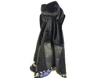 Black & grey Patchwork scarf