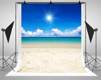 Sunny Blue Sky White Clouds Photography Backdrops Newborn Baby Beach Sea Photo Backgrounds for Children Studio Props
