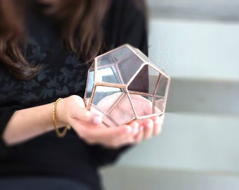 Geometric Terrarium, A Dodecahedron Stained Glass Terrarium, Use As a Planter, Ring Box, Jewelry Box Or a Candle Holder