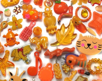 50 Orange Kawaii Charms - Cute Trinkets Grab Bag - Kitsch Charms Mystery Bag - Cute Charms Beads Doodads for DIY Charm Bracelets - Lucky Dip