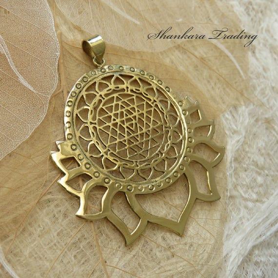 Sri Yantra Pendant Tribal Brass Lotus Pendant Sacred - Imagez co