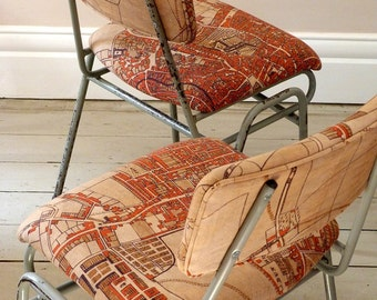 Vintage Industrial  Map Desk Chairs