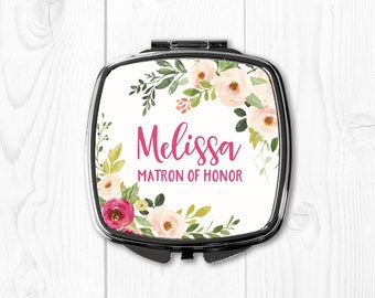Matron of Honor Gift Sister Wedding Gift for Matron of Honor Mirror Personalized Compact Mirror Purse Mirror Purple Pink Floral