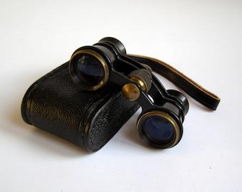 Black opera glasses. Black binoculars. Soviet opera. Binoculars. Small leather case. Vintage accessories.