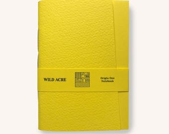Origin One Factory Yellow Notebook, Handmade Pocketbook, Exercise Book, Notebook, Fine Quality, Pocket Notebook, Yellow One