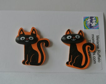 Wood Orange and Black Halloween Cat Post Earring