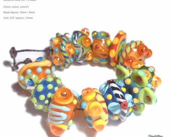 FRIDAY CHA CHA Lampwork Beads Handmade Bright color Mix Red Blue Green Yellow Orange Vibrant  Set of 12