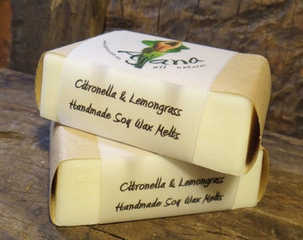 Citronella & Lemongrass Handmade Soy Melts - (Essential Oil) - Flat Rate Shipping Now Available!