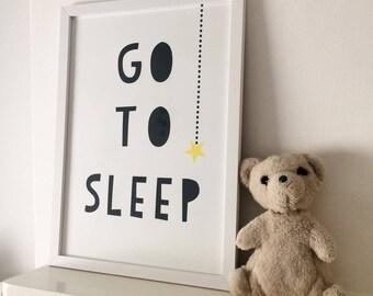 GO TO SLEEP (light) Kids nursery art print