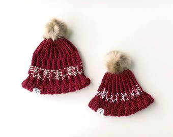 Mommy and Me Burgandy White Marled Pom Knit Beanie