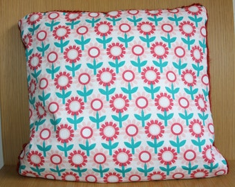 Cushion cover red wool and cotton blend / Pillowcase