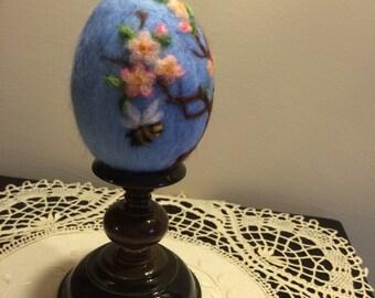 Needle felted egg, Ester egg, Egg with flowers, Easter, Felted egg, Gift