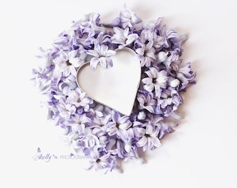 Floral Still Life- Purple Hyacinth Photo, Hyacith Petals, Hyacinth Flower Print, Floral Wall Art, Purple Lavender Decor, Floral Heart