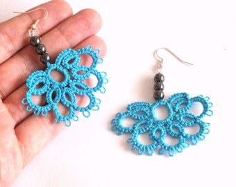 Turquoise Tatted Earrings with Hematite Beads, Half Flower Tatted Lace Earrings, Blue Flower Tatting Earrings, Lace Earrings Hematite Pearls