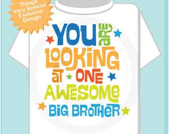 Boy's Awesome Big Brother Shirt Infant, Toddler or Youth Tee Shirt Blue Green and Orange Text t-shirt or Onesie (02222013a)