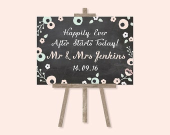 Pastel Floral Chalkboard Happily Ever After Wedding Sign