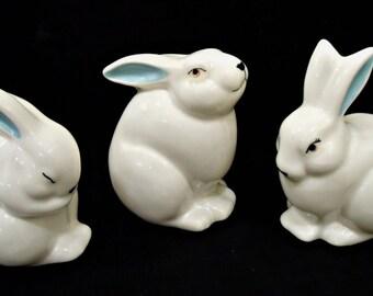 Baby Blue Eared Bunnies - Set of Three (3)