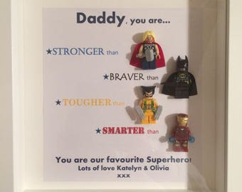 Handmade Personalised Picture Frame Lego Superhero Marvel Comic DC Grandad Dad Brother Son Valentines Fathers Day Valentines Day