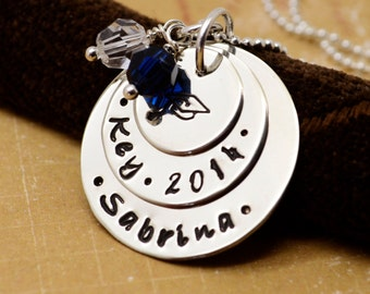 Class of 2018 Personalized Graduation Necklace, Senior High School, College, Gift, Graduation Cap Necklace, Hand Stamped Jewelry