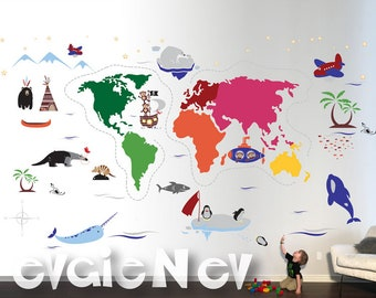 Animal Map Wall Decals, Educational Wall Decals, Children World Map Wall Decals, World Wall Stickers - PLWMAP