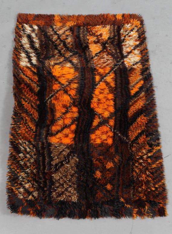 Vintage Marianne Richter 'Kålmården' ryamatta rug pure new wool Gripper Axminster made in Sweden by Varufakta