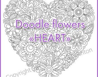 "Adult coloring page doodle flowers ""HEART"", zentangle (zendoodle) pattern, printable art original, PDF"