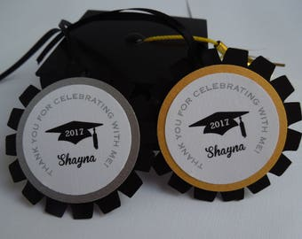 Graduation 2017 set of 12 thank you tags - personalized graduation thank you tags - Graduation favor tags