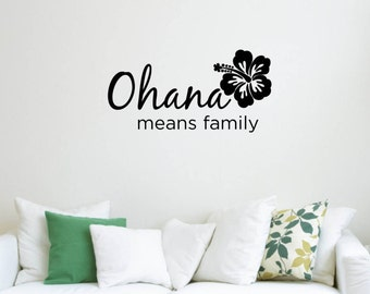 Vinyl Wall Word Sticker - Ohana Means Family - Inspired by Disney's Lilo and Stitch