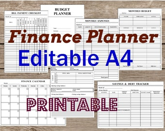 Finance Planner A4, Editable Printable. BW. Black and white. Filofax Personal Inserts Undated. Planner binder. Grayscale. Instant Download.