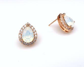 bridal wedding earrings bridesmaid christmas gift teardrop shape cubic zirconia stud post rose gold swarovski white opal rhinestone crystal