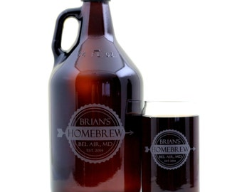 Personalized HomeBrew Growler and 2 Glass set with single arrow banner Label Design. Homebrew, Beer, Beer Gift, , Beer Glass, Beer Tools