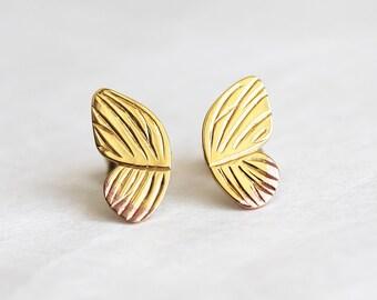Butterfly Earrings, Wing Earrings, Gold Butterfly Earrings, Gold Stud Earrings, Butterfly Jewelry, Butterfly Stud Earrings, Butterfly Wing