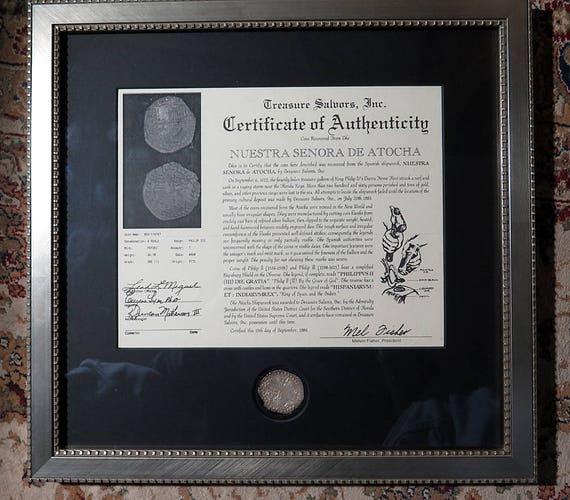 Atocha Shipwreck Coin Grade One, 8 Reale, Professionally Framed with C.O.A. Coin No. 85-A114747