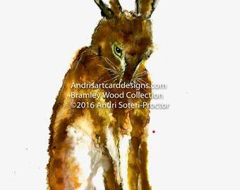 Bashful, Hare art print - Bramley wood collection 2016, Ref: BWC003HA